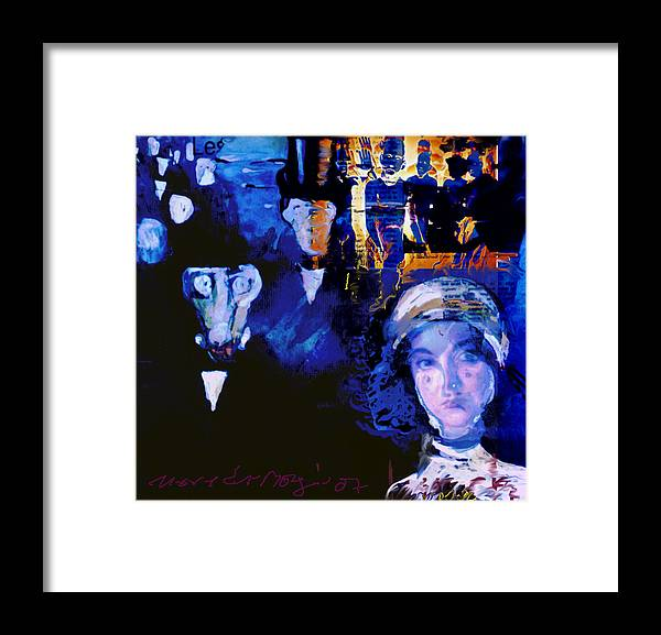 Human Compostion Framed Print featuring the mixed media La Marche by Noredin Morgan