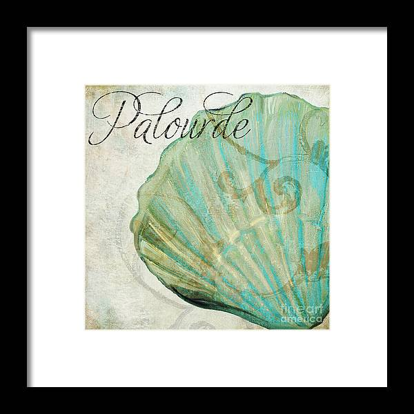 Beach House Framed Print featuring the painting La Mer II Clam Shell by Mindy Sommers