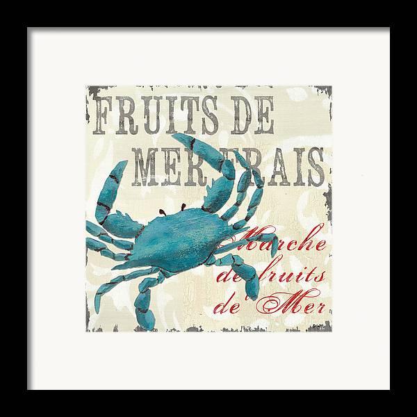 Coastal Framed Print featuring the painting La Mer Shellfish 1 by Debbie DeWitt