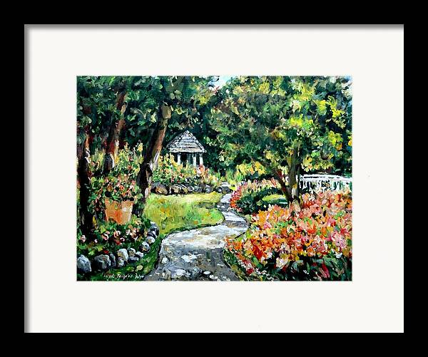 Landscape Framed Print featuring the painting La Paloma Gardens by Alexandra Maria Ethlyn Cheshire