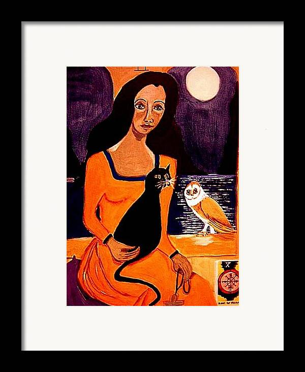 Occult Framed Print featuring the painting La Papesse by Rusty Woodward Gladdish