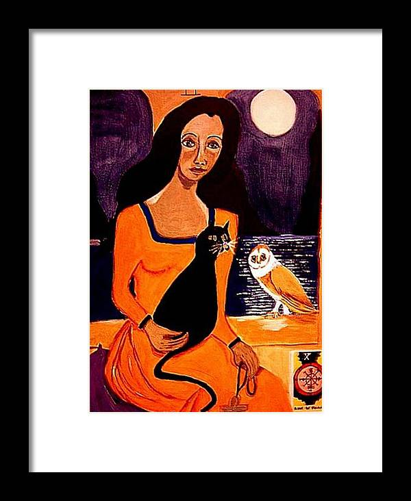 Occult Framed Print featuring the painting La Papesse by Rusty Gladdish