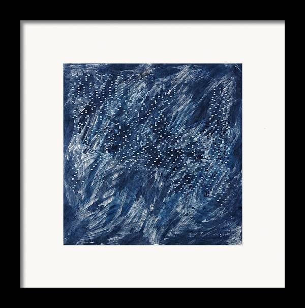 Grey Blue White Painting Pattern Square Framed Print featuring the painting La Poeme by Joan De Bot
