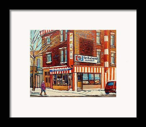 La Quebecoise Restaurant Deli Framed Print featuring the painting La Quebecoise Restaurant Deli by Carole Spandau