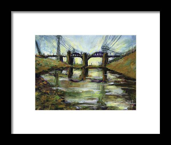 Urban. Blight Framed Print featuring the painting LA River 6th Street Bidge by Randy Sprout