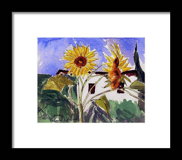 Watercolors Framed Print featuring the painting La Romita Sunflowers by Tom Herrin