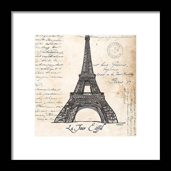Eiffel Tower Framed Print featuring the painting La Tour Eiffel by Debbie DeWitt