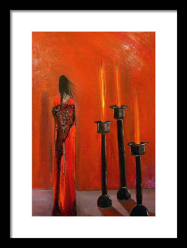 Figurative Candles Red Framed Print featuring the painting La Trinadad by Niki Sands
