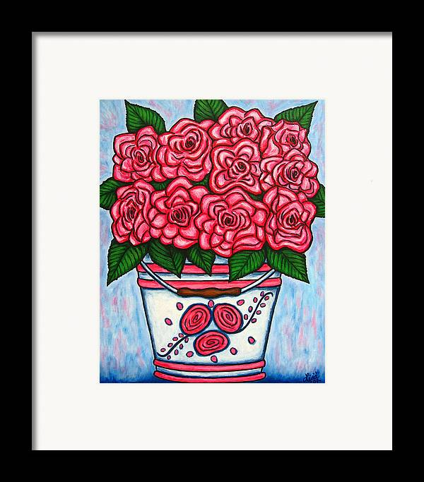 Rose Framed Print featuring the painting La Vie En Rose by Lisa Lorenz