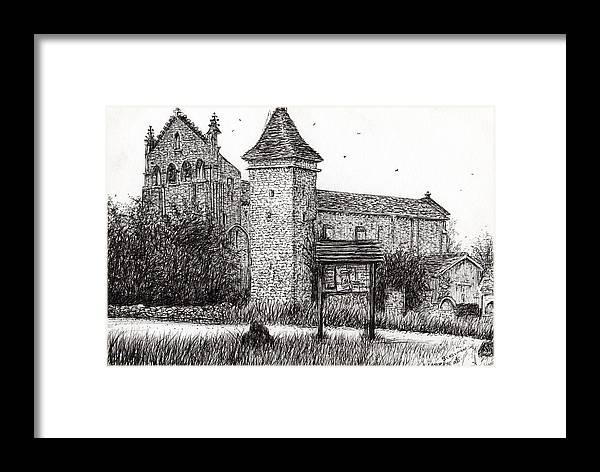Abbey Framed Print featuring the drawing L'abbeye Blassimon by Vincent Alexander Booth