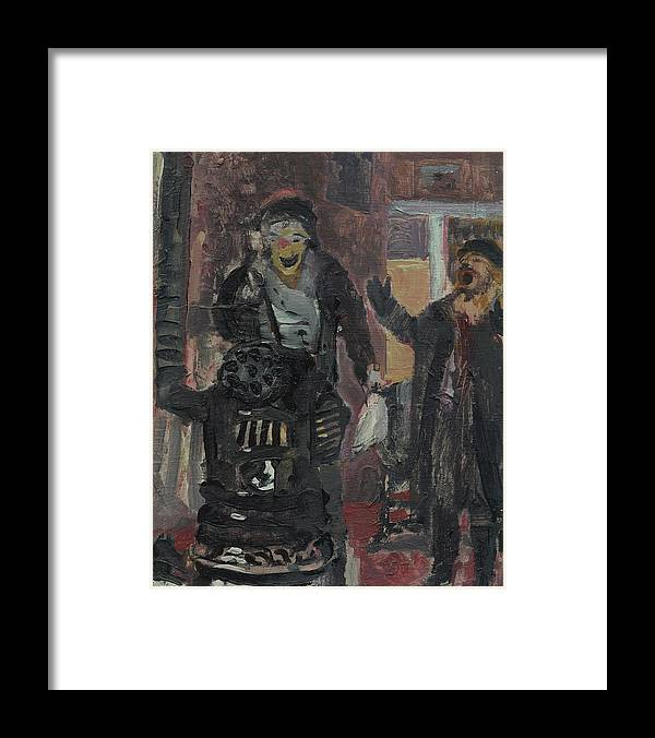 Figure Framed Print featuring the painting Laboheme Act 1 Burning by Bill Collins