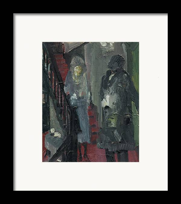 Figure Framed Print featuring the painting Laboheme Act 1 Stairway by Bill Collins