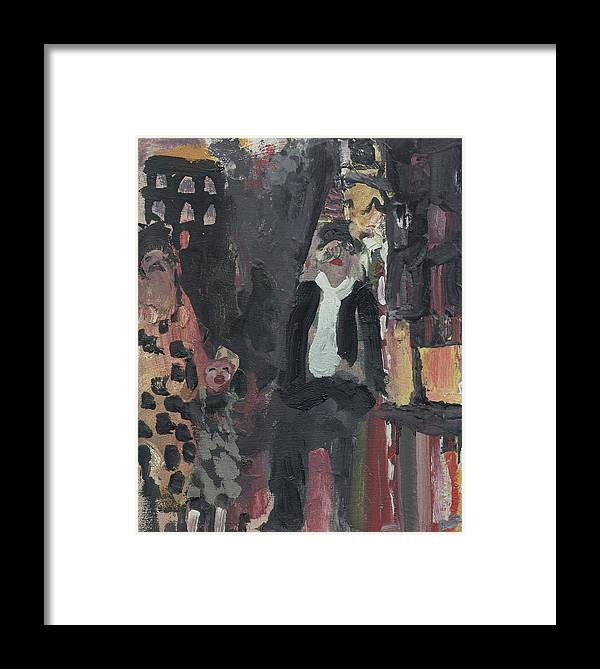 Figure Framed Print featuring the painting Laboheme Act 3 Steetscene by Bill Collins