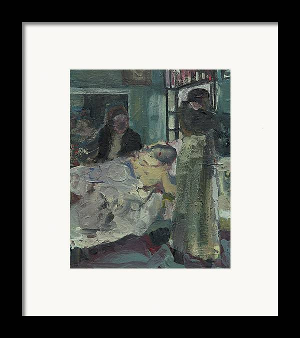 Figure Framed Print featuring the painting Laboheme Act 4 Mimi Dies by Bill Collins