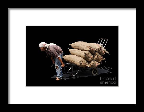 Labor Worker Culture Thailand Man Framed Print featuring the photograph Labor Worker by Ty Lee