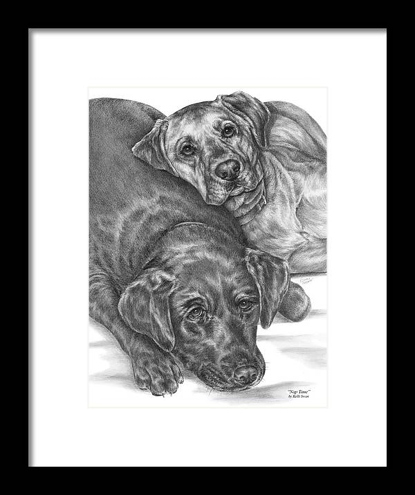 Two Framed Print featuring the drawing Labrador Dogs Nap Time by Kelli Swan