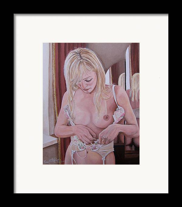 Nude Framed Print featuring the painting Lacing Corset by Kenneth Kelsoe