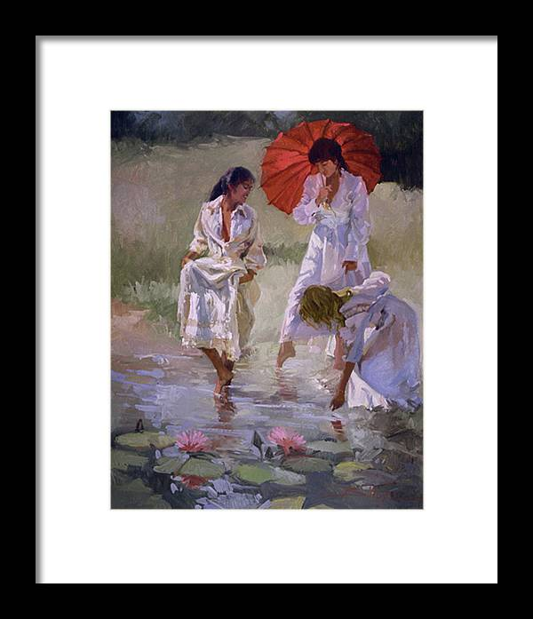 Figurative Framed Print featuring the painting Ladies And Lilies by Betty Jean Billups