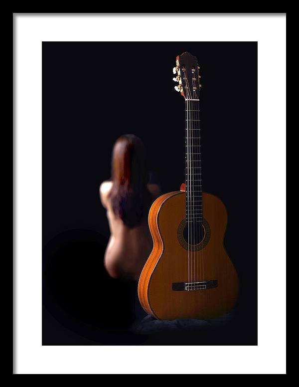 Nude Framed Print featuring the photograph Lady And Guitar by Dario Infini