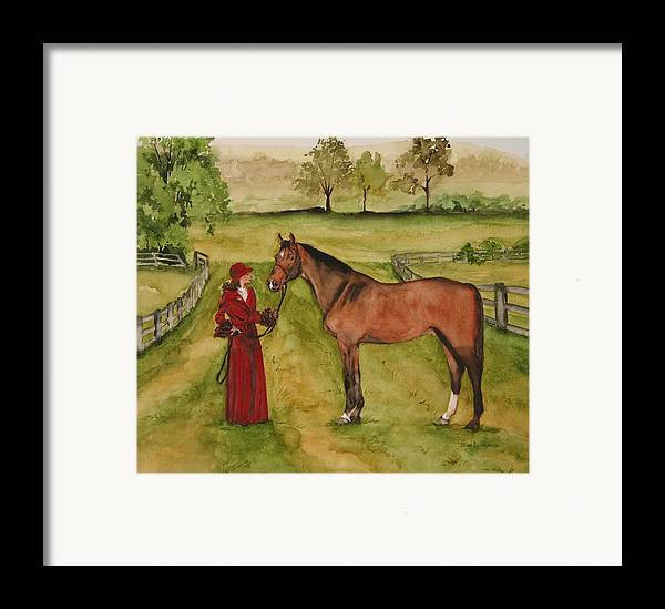 Horse Framed Print featuring the painting Lady And Horse by Jean Blackmer