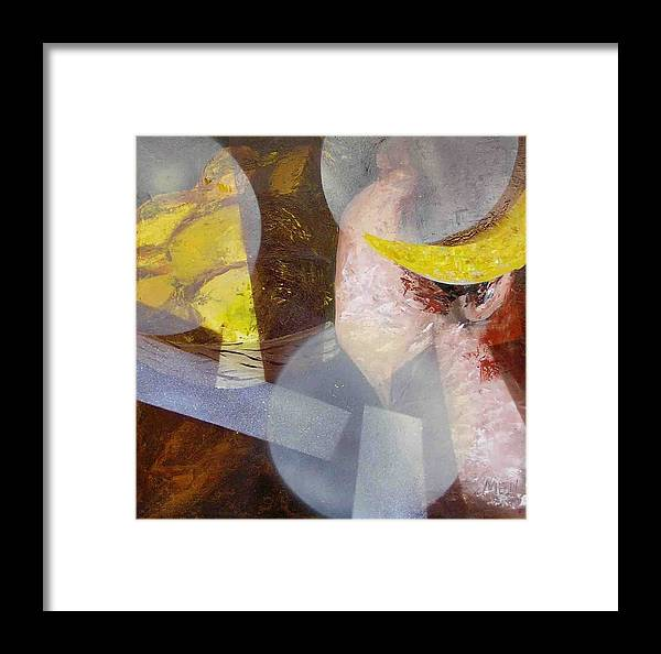 Face Framed Print featuring the painting Lady And Lemons by Evguenia Men