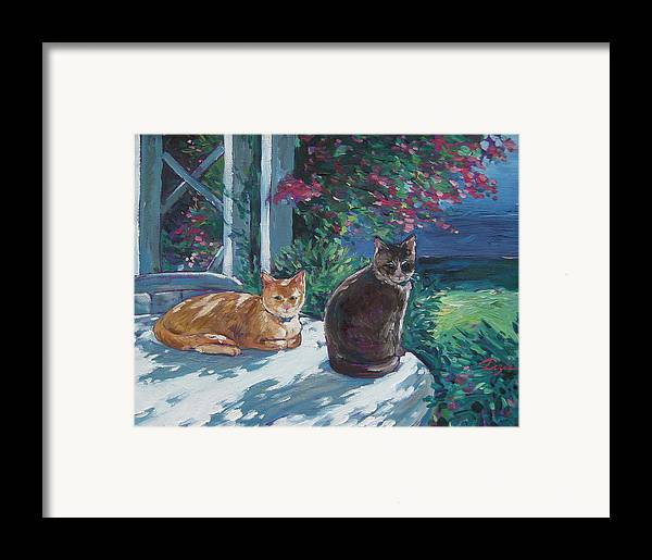 Pet Portraits Framed Print featuring the painting Lady And Lucy by Karen Doyle