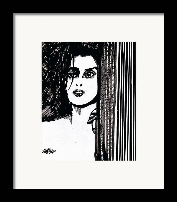 Sad Lady Framed Print featuring the drawing Lady At The Door by Seth Weaver