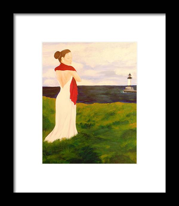 Woman Framed Print featuring the painting Lady At The Ocean by Jennifer Hernandez