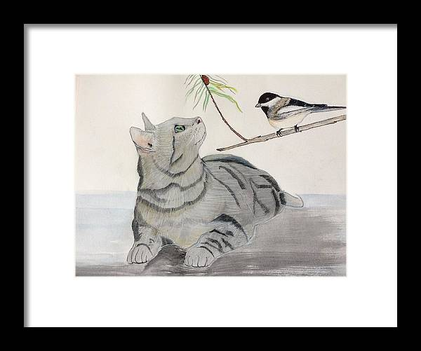 Cat Framed Print featuring the painting Lady Bug Lady Bug by Gail Grundberg Judd