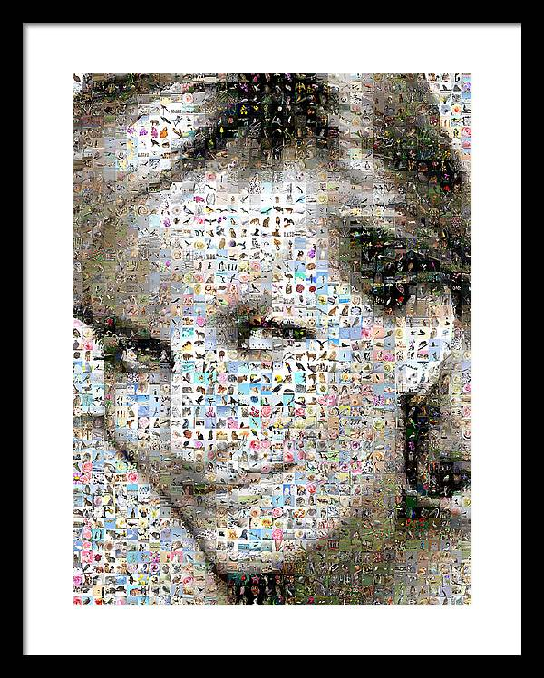 Mosaic Framed Print featuring the digital art Lady D by Gilberto Viciedo