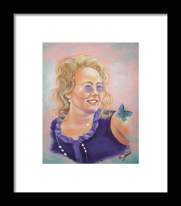 Portrait Framed Print featuring the painting Lady In Purple by Joni McPherson