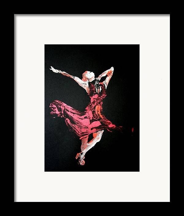 Lady In Red Framed Print featuring the painting Lady In Red by Ana Bikic