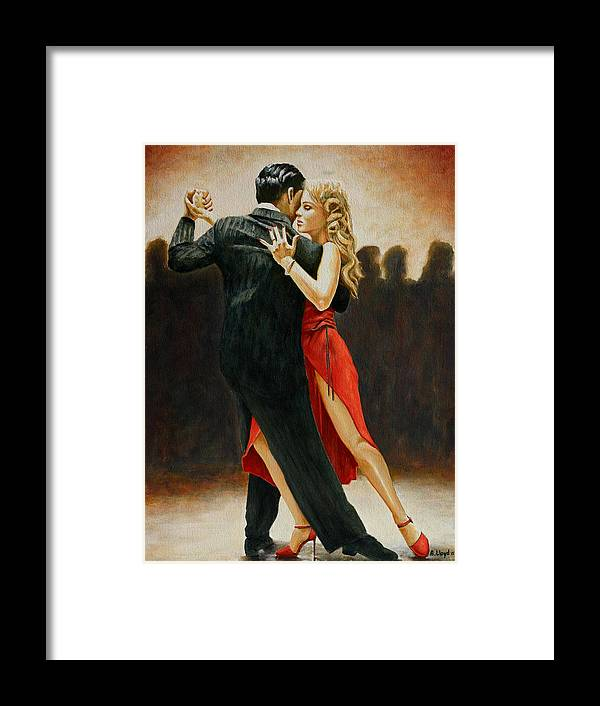 Dancers Red Dress Blonde Couple Dance Latin Tango Red Shoes Heels Light Framed Print featuring the painting Lady in Red by Andy Lloyd