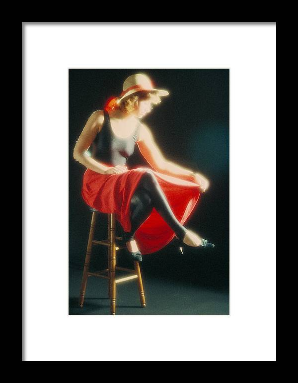 Lady Framed Print featuring the photograph Lady In Red by Jerry McElroy