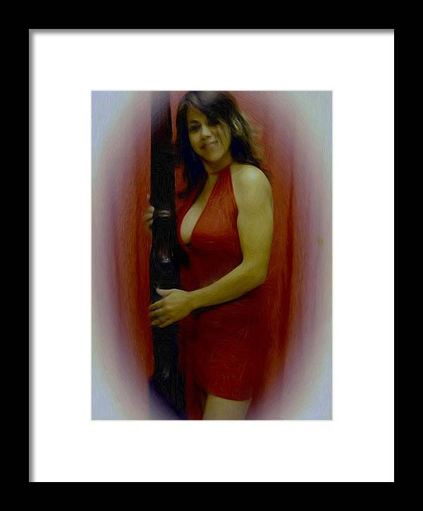 Digital Painting Framed Print featuring the painting Lady In Red by Maribel McIntosh