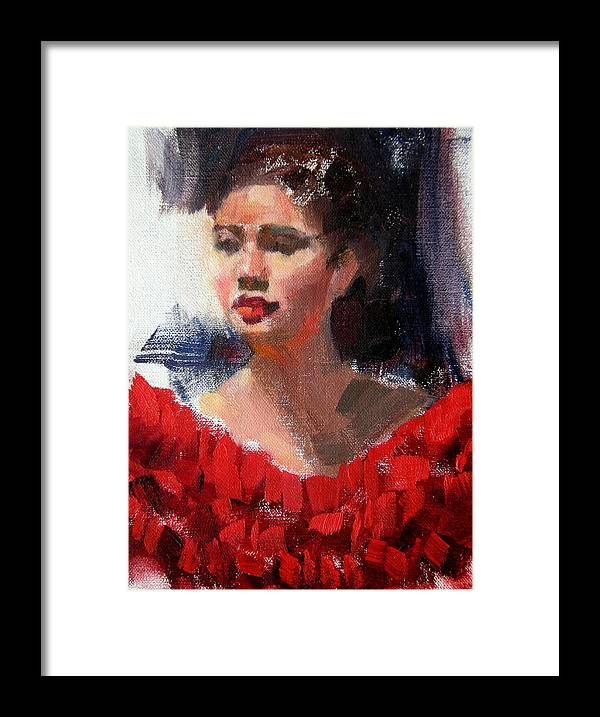 Portrait Framed Print featuring the painting Lady In Red by Merle Keller