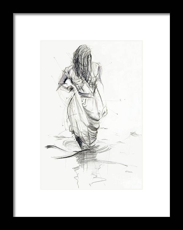 Woman Framed Print featuring the drawing Lady In The Waters by Kerryn Madsen-Pietsch