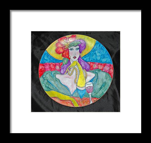 Brightly Painted Woman Waiting For Her Date Framed Print featuring the mixed media Lady In Waiting by Mickie Boothroyd