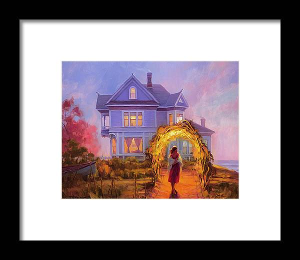 Woman Framed Print featuring the painting Lady In Waiting by Steve Henderson