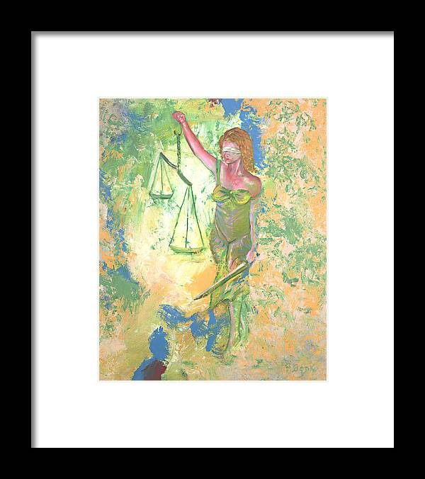 Ladyjustice Framed Print featuring the painting Lady Justice and the Man by Peter Bonk