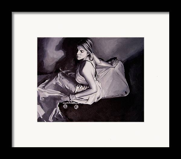 Law Art Framed Print featuring the painting Lady Justice Black And White by Laura Pierre-Louis