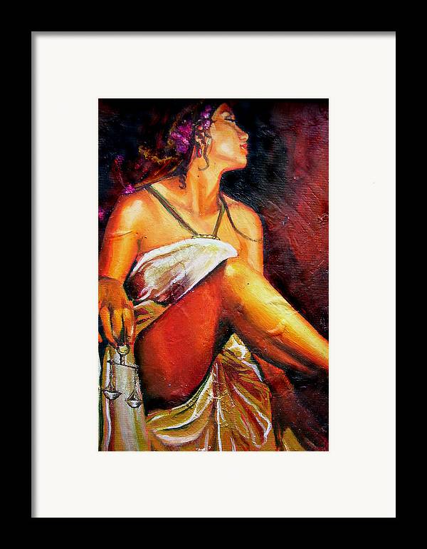 Law Art Framed Print featuring the painting Lady Justice Mini by Laura Pierre-Louis