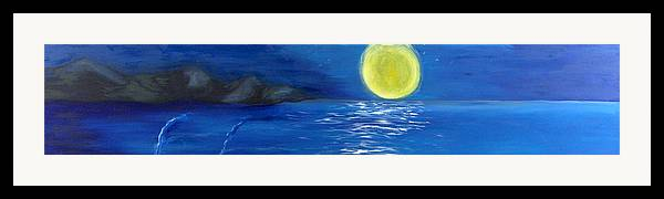 Seascape Framed Print featuring the painting Lady Moon by Helene Lagoudakis
