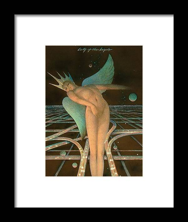 Female Framed Print featuring the painting Lady Of The Angels by Gary Kaemmer