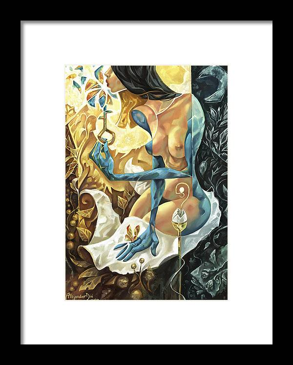 Blue Framed Print featuring the painting Lady of The Key by Alejandro Dini