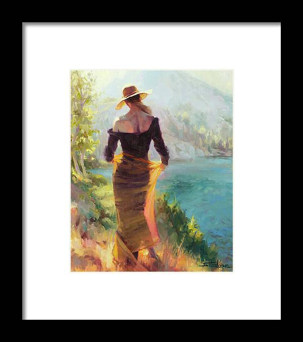 Woman Framed Print featuring the painting Lady of the Lake by Steve Henderson