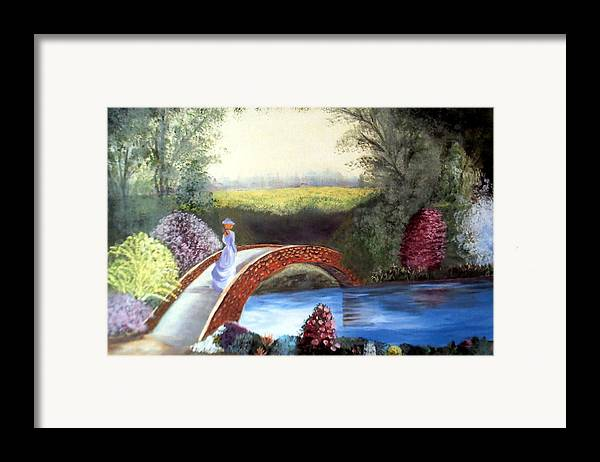 Landscape Framed Print featuring the painting Lady On The Bridge by Julie Lamons