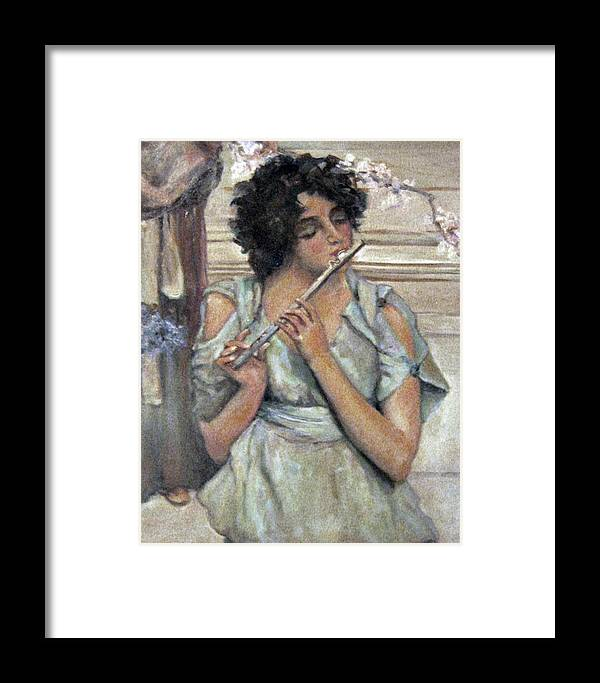 Girl Framed Print featuring the painting Lady Playing Flute by Donna Tucker