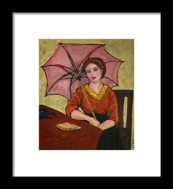 Framed Print featuring the painting Lady With An Umbrella by Asha Sudhaker Shenoy