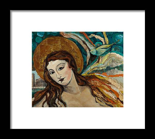Figure Framed Print featuring the mixed media Lady With Bird by Michele Norris